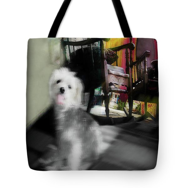 Dogie In The Patio Art  Tote Bag