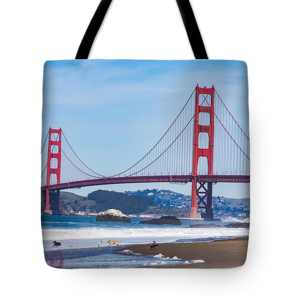 Dogs At The Golden Gate Bridge Tote Bag
