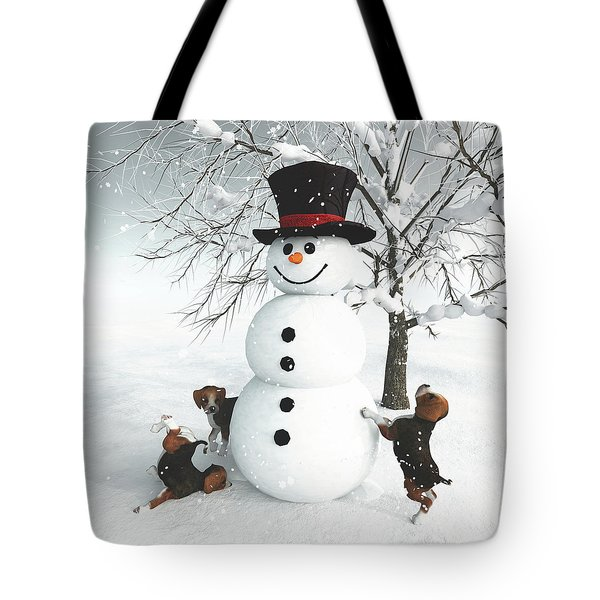 Dogs Discovering A Snowman Tote Bag