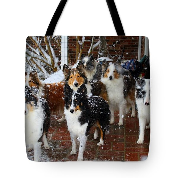 Dogs During Snowmageddon Tote Bag