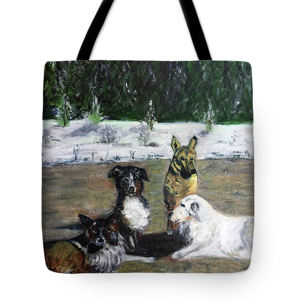 Dogs Having A Meeting Tote Bag