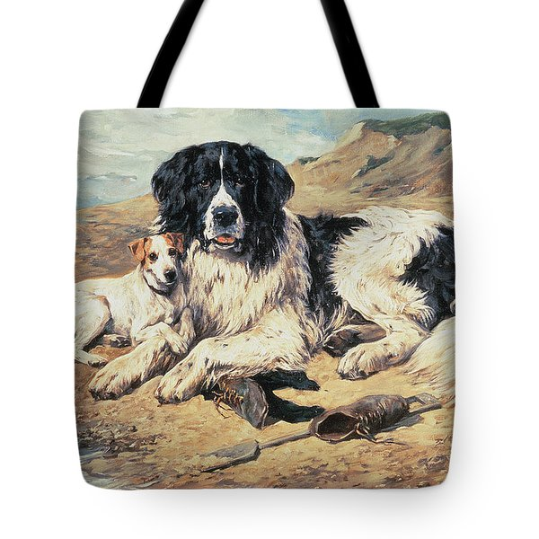 Dogs Watching Bathers Tote Bag