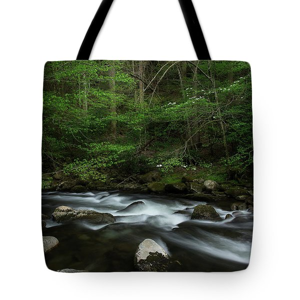 Tote Bag featuring the photograph Dogwood Along The River by Mike Eingle