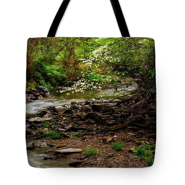 Dogwood At The Bend Tote Bag by Thomas R Fletcher