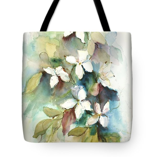 Tote Bag featuring the painting Dogwood Branch by Sandra Strohschein