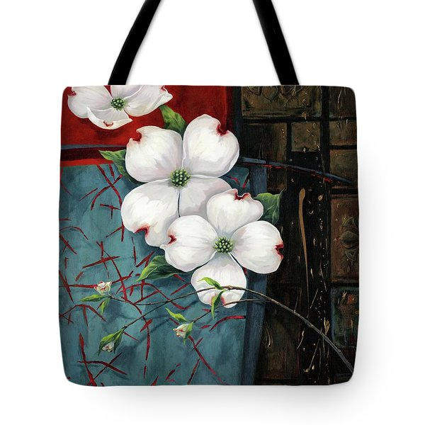 Dogwood Teal And Gold Tote Bag