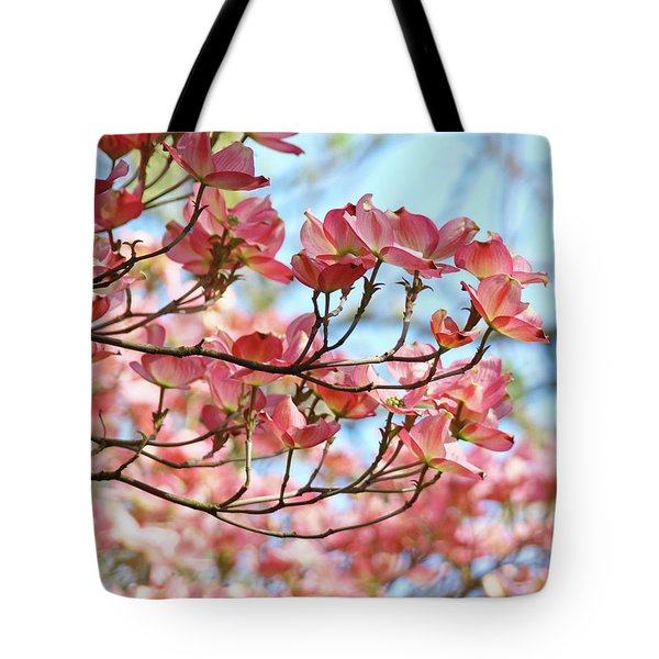 Dogwood Tree Landscape Pink Dogwood Flowers Art Tote Bag by Baslee Troutman