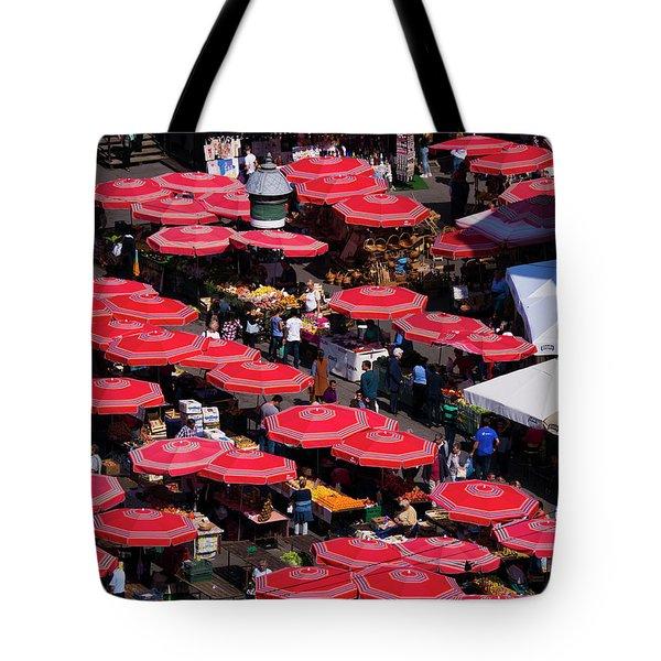 Dolac Market Umbrellas Tote Bag by Rae Tucker