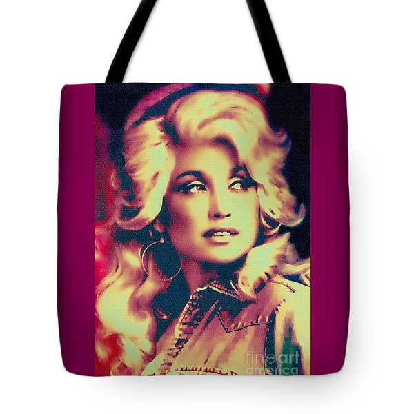 Dolly Parton - Vintage Painting Tote Bag by Ian Gledhill