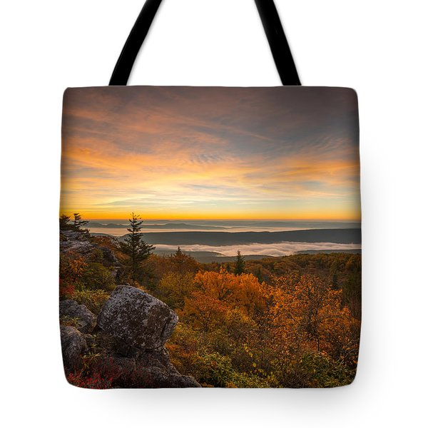 Dolly Sods Wilderness Peak Fall Sunrise Tote Bag by Rick Dunnuck