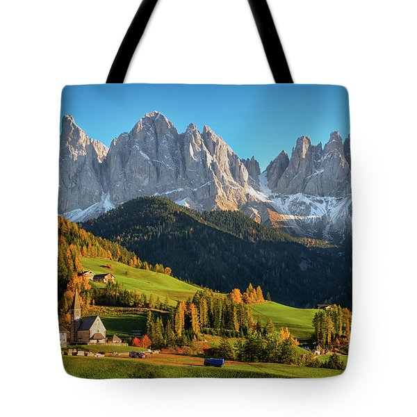 Dolomite Village In Autumn Tote Bag