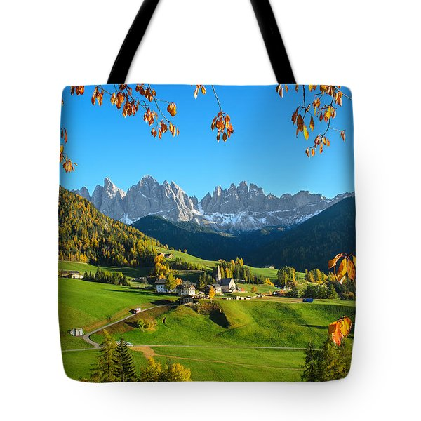 Dolomites Mountain Village In Autumn In Italy Tote Bag