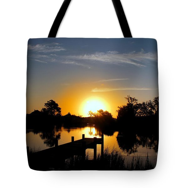 Dolphin Cove Sunrise Tote Bag by Benanne Stiens
