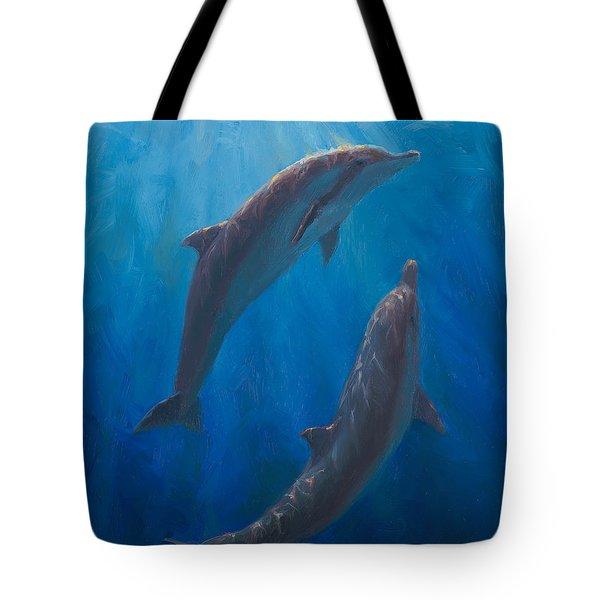 Dolphin Dance - Underwater Whales - Ocean Art - Coastal Decor Tote Bag