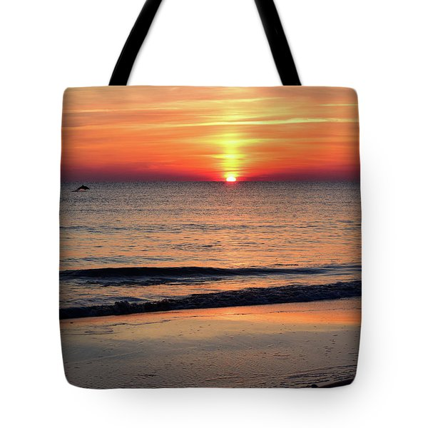 Dolphin Jumping In The Sunrise Tote Bag