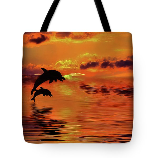 Tote Bag featuring the digital art Dolphin Silhouette Sunset By Kaye Menner by Kaye Menner