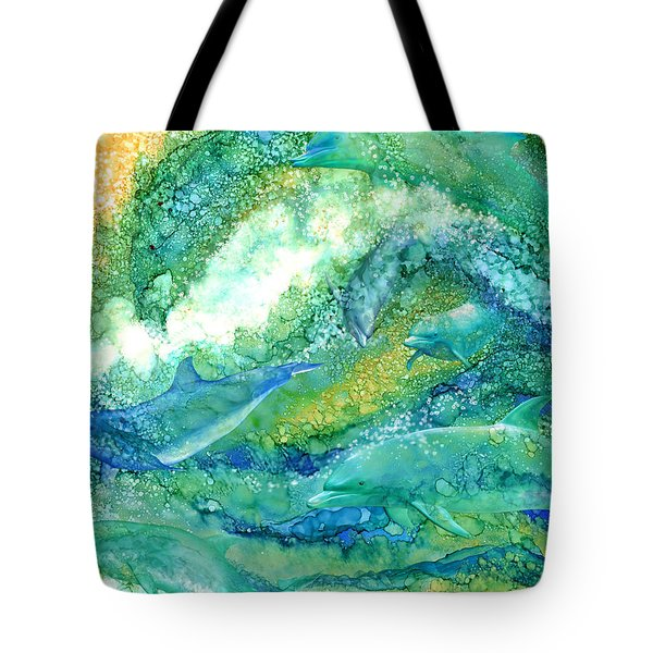 Tote Bag featuring the mixed media Dolphin Waves 2 by Carol Cavalaris