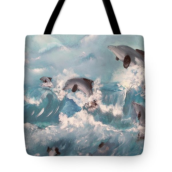 Tote Bag featuring the painting Dolphins At Play by Miroslaw  Chelchowski