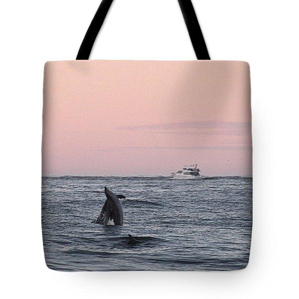 Dolphins At Play Tote Bag