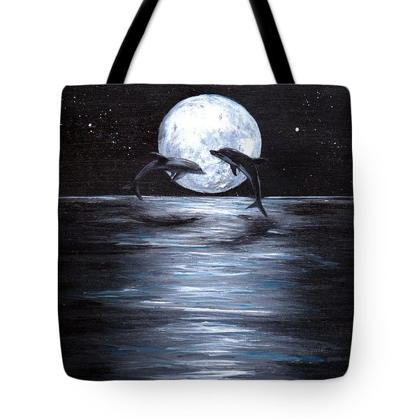 Dolphins Dancing Full Moon Tote Bag