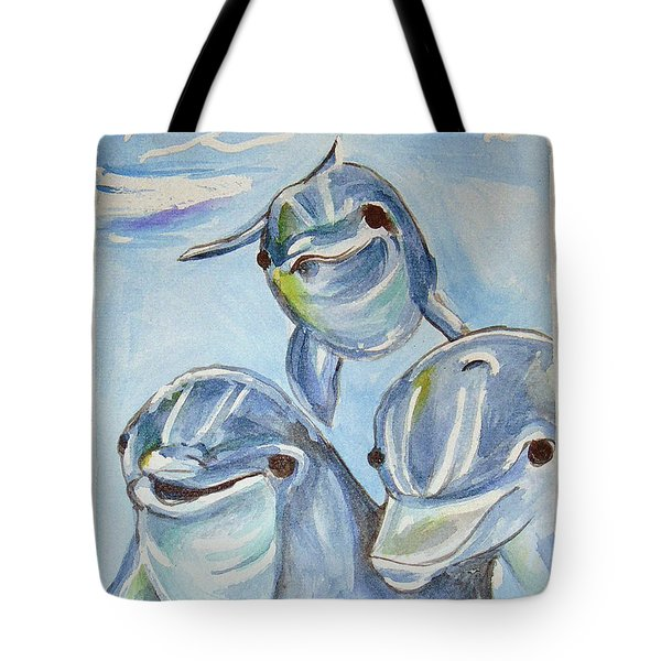 Dolphins Tote Bag by Loretta Nash