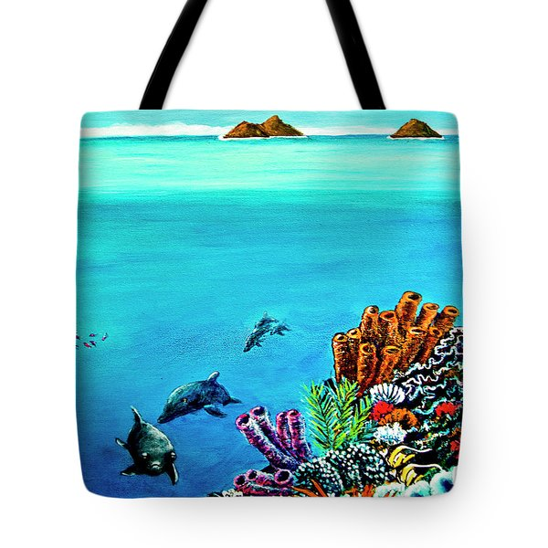 Dolphins Moorish Idle Lion Fish #253 Tote Bag by Donald k Hall