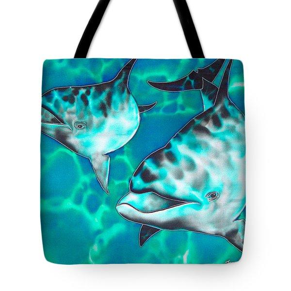 Dolphins Of Sanne Bay Tote Bag by Daniel Jean-Baptiste