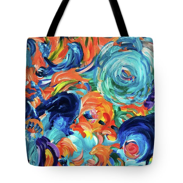 Dolphins Playing In Peonies Tote Bag