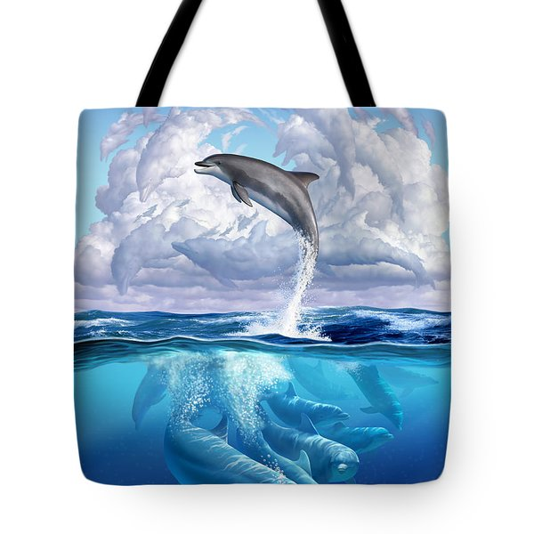 Dolphonic Symphony Tote Bag by Jerry LoFaro