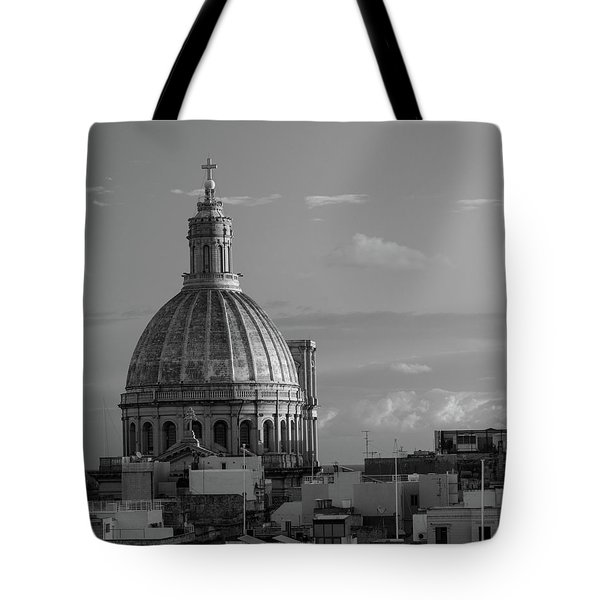 Dome Of Our Lady Of Mount Carmel In Valletta, Malta Tote Bag