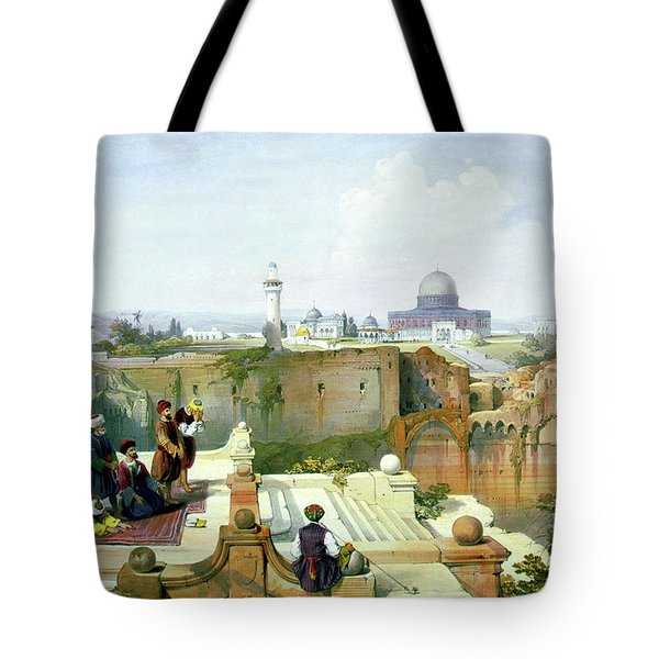 Dome Of The Rock In The Background Tote Bag by Munir Alawi