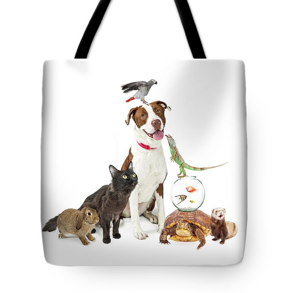 Domestic Pets Group Together With Copy Space Tote Bag