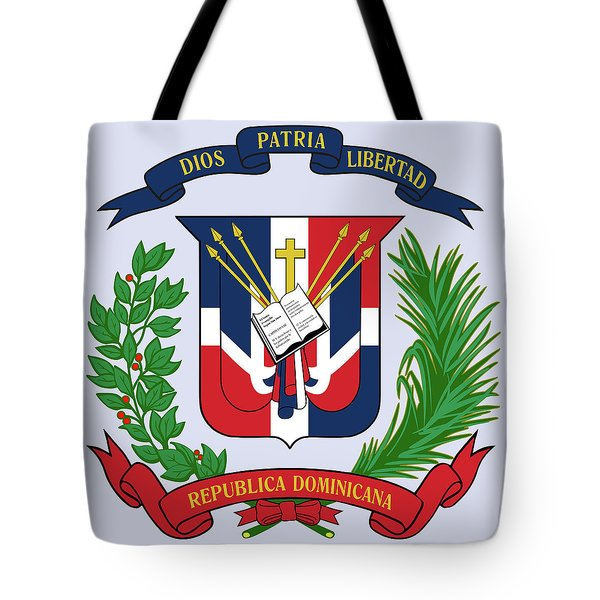 Tote Bag featuring the drawing Dominican Republic Coat Of Arms by Movie Poster Prints