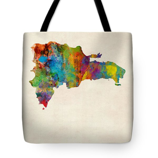 Dominican Republic Watercolor Map Tote Bag by Michael Tompsett