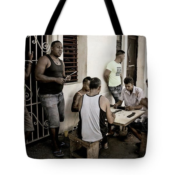 Tote Bag featuring the photograph Dominoes by Joan Carroll