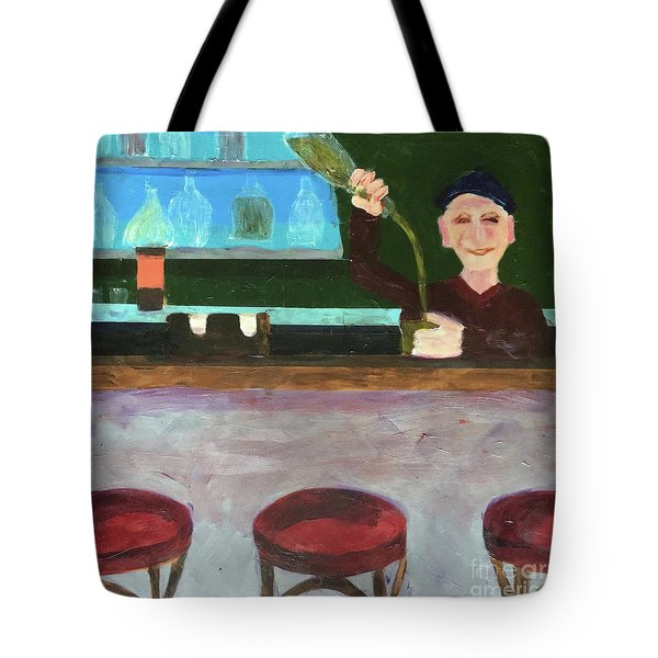 Tote Bag featuring the painting Don At Tres Gringos Bartending by Donald J Ryker III