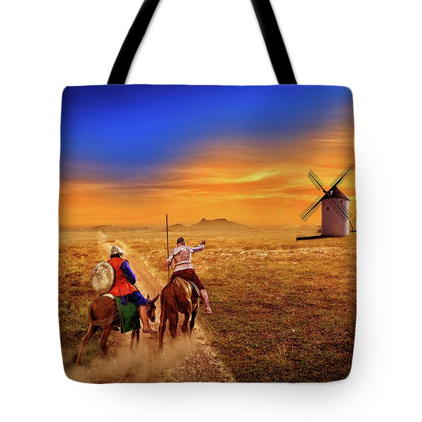 Don Quixote And The Windmills Tote Bag