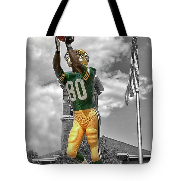 Tote Bag featuring the photograph Donald Driver Statue by Joel Witmeyer