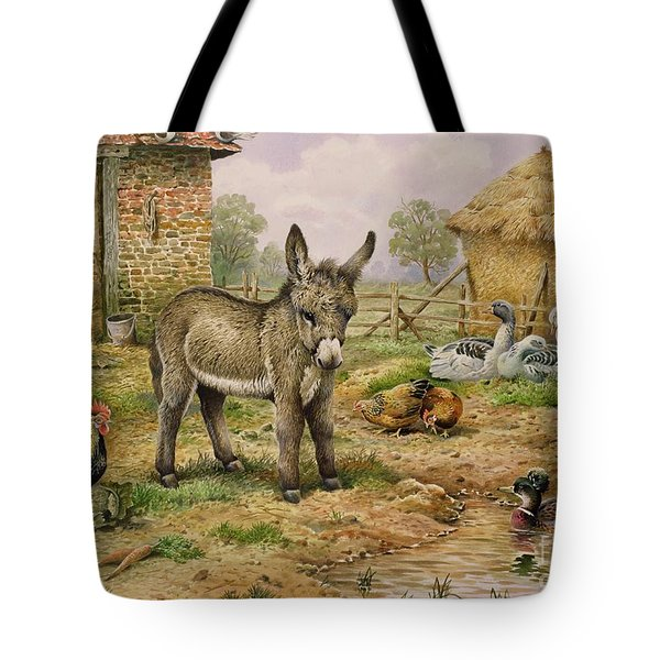 Donkey And Farmyard Fowl  Tote Bag by Carl Donner
