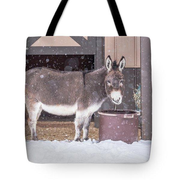 Donkey Watching It Snow Tote Bag