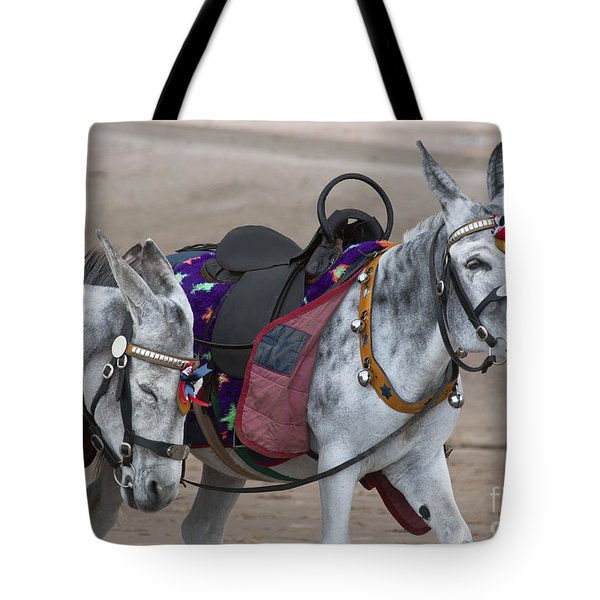 Donkeys On Blackpool Beach Tote Bag
