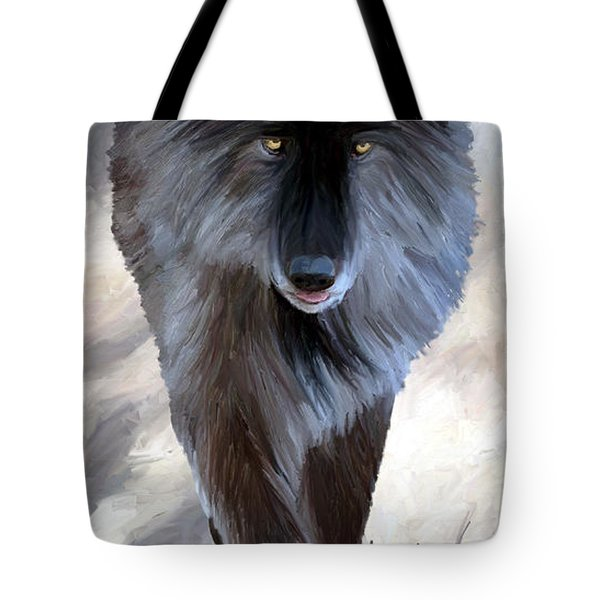 Tote Bag featuring the painting Gray Wolf Treading Carefully by James Shepherd