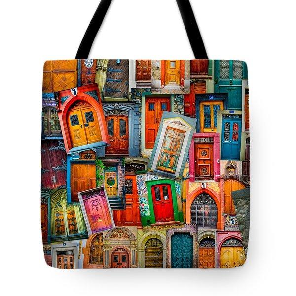 Door Collage Mashup Tote Bag