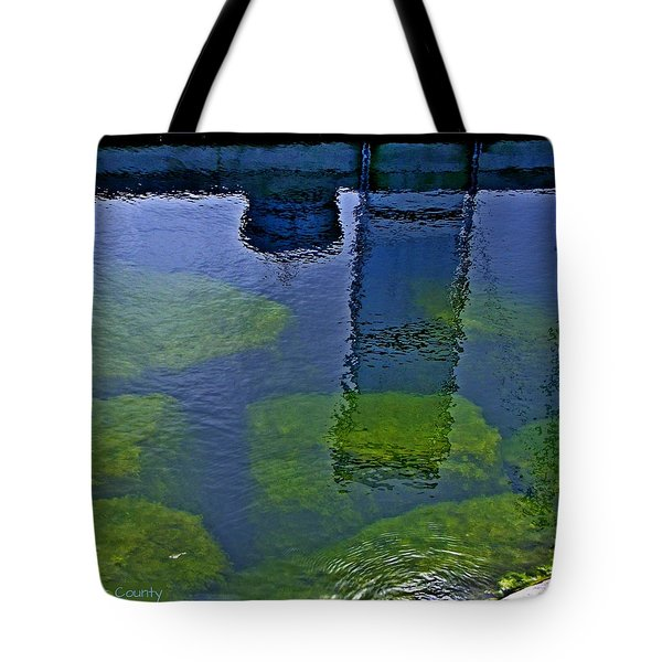 Tote Bag featuring the photograph Door County Reflections by Perry Andropolis