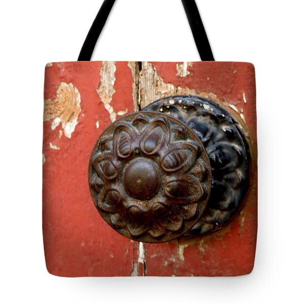 Door Knob On Red Door Tote Bag