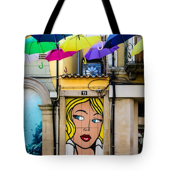 Door No 73 And The Floating Umbrellas Tote Bag