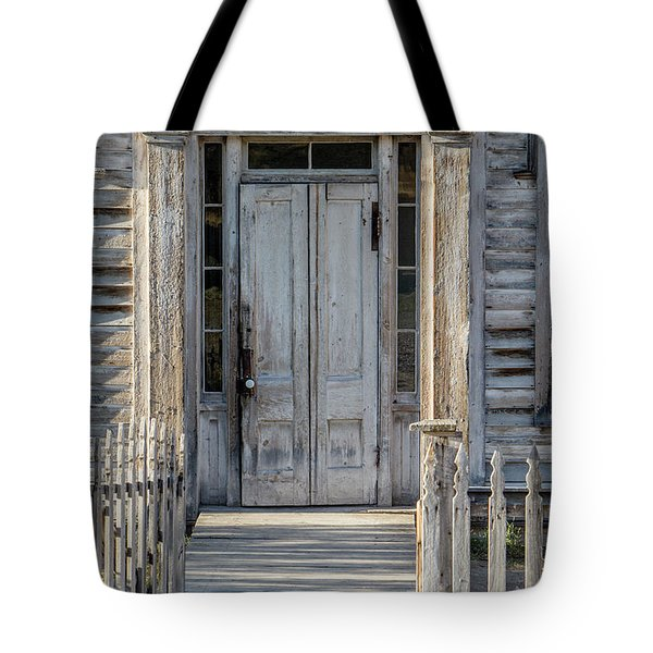 Door Of The Old Bannack Schoolhouse And Masonic Temple Tote Bag