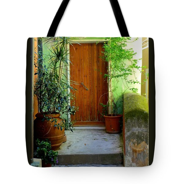 Doorway In Vernazza Tote Bag