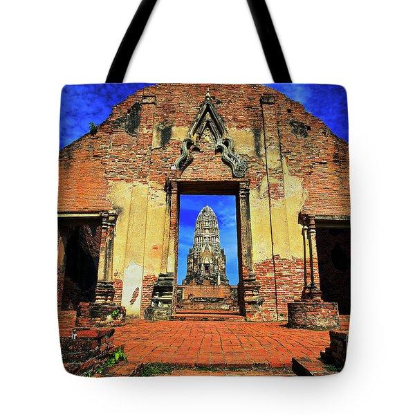 Doorway To Wat Ratburana In Ayutthaya, Thailand Tote Bag