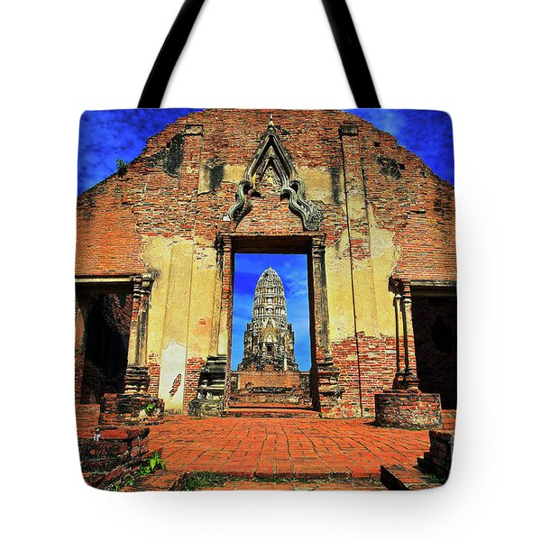Doorway To Wat Ratburana In Ayutthaya, Thailand Tote Bag